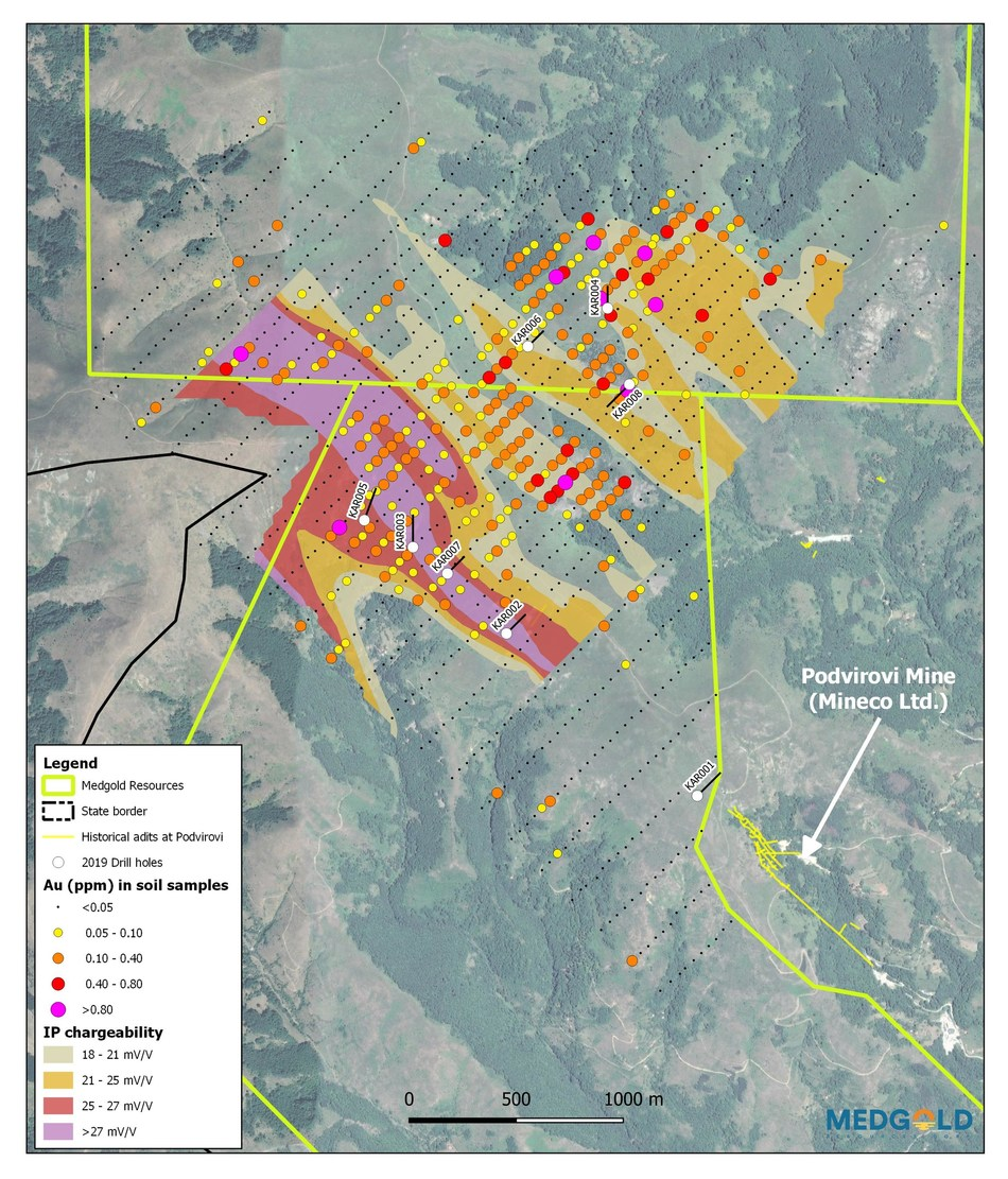 Figure 1 – Plan view of Medgold's 2019 drill holes at Karamanica relative to geochemical and geophysical targets. (CNW Group/Medgold Resources Corp.)