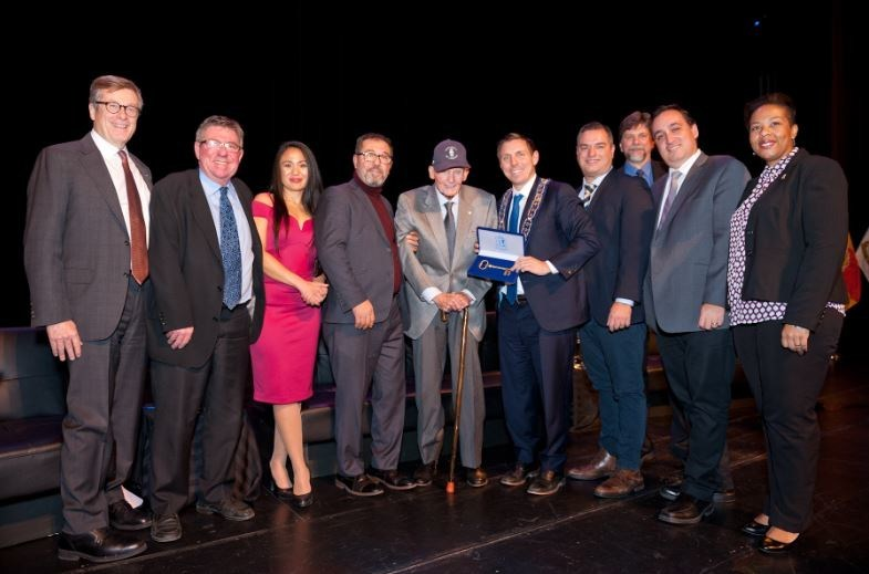 Pictured (L to R): Toronto Mayor John Tory, City Councillor Doug Whillans, Regional Councillor Rowena Santos, Regional Councillor Pat Fortini, Bill Davis, Mayor Patrick Brown, Regional Councillor Martin Medeiros, City Councillor Jeff Bowman, Regional Councillor Paul Vicente, City Councillor Charmaine Williams (CNW Group/The Corporation of the City of Brampton)