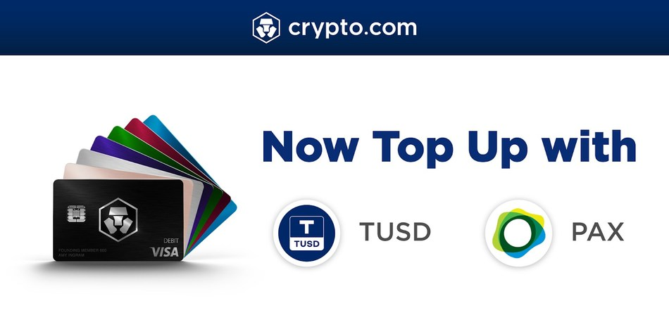 Top Up the MCO Visa Card with PAX and TUSD