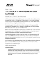 ATCO Reports Third Quarter 2019 Earnings (CNW Group/ATCO Ltd.)