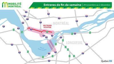Carte générale des entraves - fin de semaine du 29 novembre (Groupe CNW/Ministère des Transports)