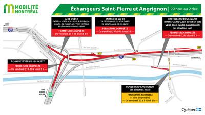 A20 OUEST et échangeur Saint-Pierre - entraves fin de semaine du 29 novembre (Groupe CNW/Ministère des Transports)