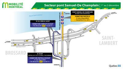 Échangeur A10-R132 à Brossard - entraves 1er décembre (Groupe CNW/Ministère des Transports)