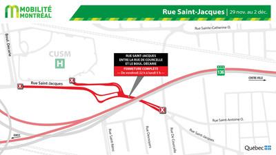 Rue Saint-Jacques - fermeture fin de semaine du 29 novembre (Groupe CNW/Ministère des Transports)