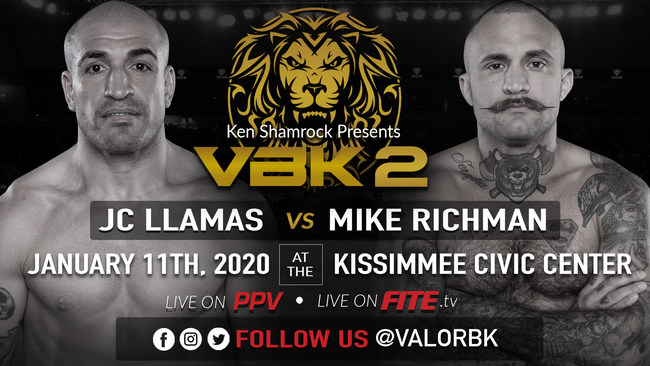 Ken Shamrock, the World's Most Dangerous Man and co-founder of Valor Bare Knuckle Inc. (VBK™), announced today that the promotion will be visiting Kissimmee, Florida for the first time on Saturday, January 11 to host VBK 2. An exciting rematch between JC Llamas and Mike Richman will be on the card.