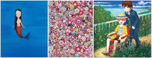 Liu Ye (1964) - Little mermaid, 2004 - left, Takashi Murakami (1962) - Dazzling Circus, 2013 - center, Mr. (1969) - Don't go anywhere, 2006 - right