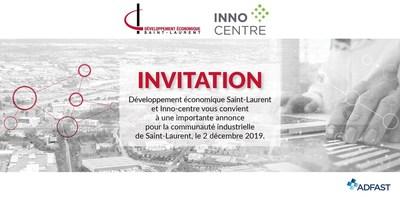 Annonce DESTL INNO Centre 2 décembre 2019 (Groupe CNW/Ville de Montréal - Arrondissement de Saint-Laurent)