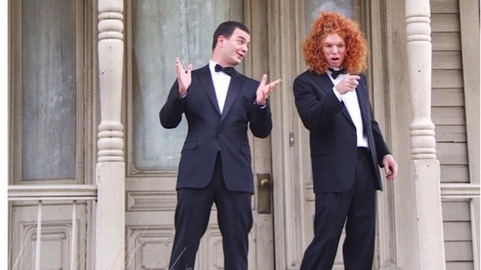 "Comedian Carrot Top joined Brian Evans in the first ever music video filmed at ""The Bates Motel."" Approved by The Alfred Hitchcock Estate, the video was filmed on the iconic film lot for the movie ""Psycho."" (PRNewsfoto/Thematic Productions)"