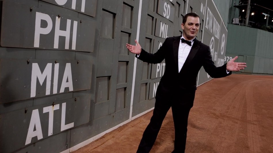 "Evans recorded ""At Fenway"" in 2012. His homage to The Boston Red Sox was added to the library of The National Baseball Hall of Fame in 2015. The song was co-produced by his mother, Helen Marie Bousquet, and Mark Andrew Biltz. Both also appear in the video, which co-stars William Shatner. (PRNewsfoto/Thematic Productions)"