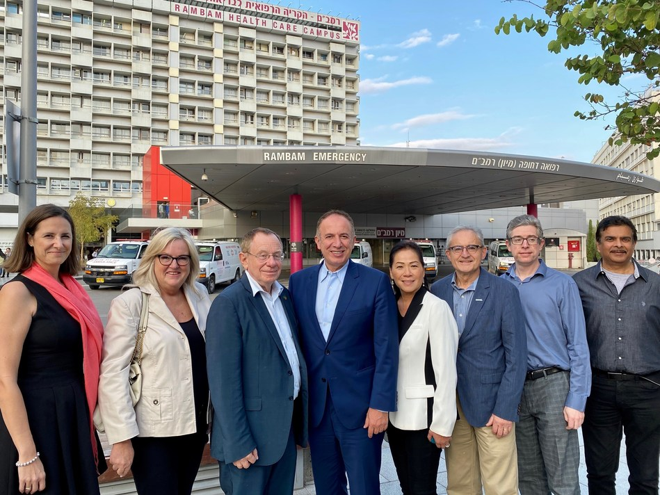 Mayor Maurizio Bevilacqua, Members of Council and representatives from the Healthcare Centre Precinct  MOU feasibility study with Dr. Rafael Bayer at the Rambam Health Care Campus in Haifa. (CNW Group/City of Vaughan)