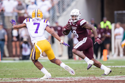 Mississippi State star running back Kylin Hill has won the fan voting portion of the 2019 C Spire Conerly Trophy, awarded annually to the top college football player in Mississippi. Above, Hill in action earlier this season against No. 1 LSU - photo courtesy of Mississippi State Athletic Department