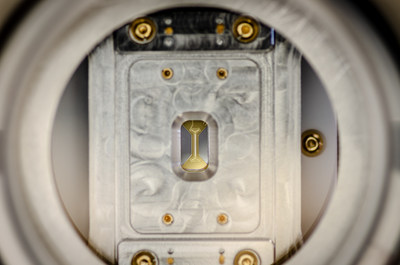 An ion trap in an ultra-high vacuum chamber, which makes up the heart of one of IonQ's unique quantum processors.