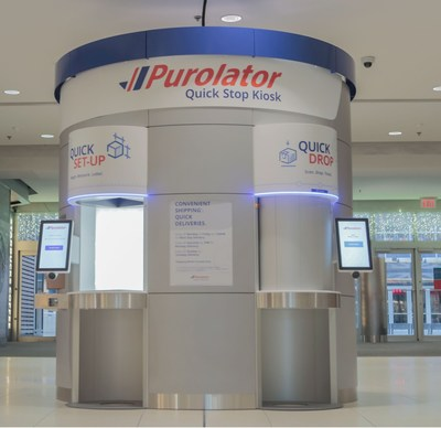 The first-of-its-kind Purolator Quick Stop Kiosk at CF Toronto Eaton Centre allows customers to shop for gifts and ship them all in one trip. (CNW Group/Purolator Inc.)