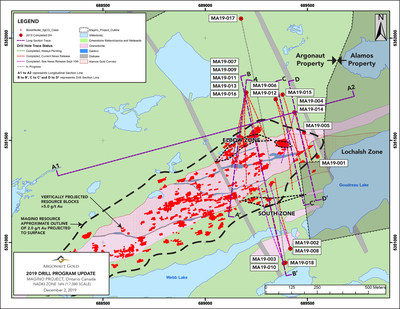 Figure 1: 2019 Drill Program Update Map - A geological map of the Magino Project located approximately 14 kilometres southeast of Dubreuilville, Ontario, adjacent to the Island Gold Mine. The map shows key drillhole locations from our recent drilling program. (CNW Group/Argonaut Gold Inc.)