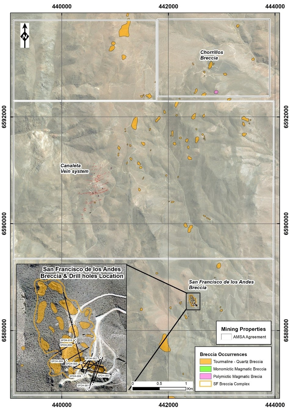 Figure 6: San Francisco tenements with main breccia locations. To date over 60 tourmaline breccias have been mapped in the project area, with large areas of the project area still to be covered by the current mapping and sampling program. Drilling at San Francisco de Los Andes has focused on the south-east corner of a composite breccia body. (CNW Group/Turmalina Metals Corp.)