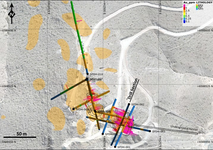 Figure 7: Plan map of Turmalina drill holes at San Francisco de Los Andes breccia pipe. The breccia remains open to the north and west. (CNW Group/Turmalina Metals Corp.)