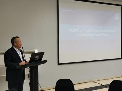 Liu Fuxue, vicedirector del Buró de la CIIE interviene en la reunión. (PRNewsfoto/CIIE)