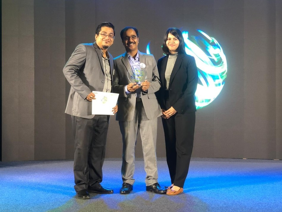 Tapishnu Chaudhuri, Rajdeep Dutta and Shivani Sen received the award on behalf of iMerit
