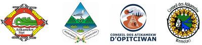 Logos du Conseil de la Nation Atikamekw, du Conseil des Atikamekw de Manawan, du Conseil des Atikamekw d'Opitciwan, du Conseil des Atikamekw de Wemotaci. (Groupe CNW/CONSEIL DE LA NATION ATIKAMEKW)