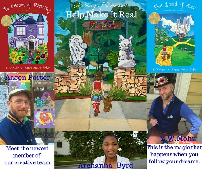 Aaron Portman, illustrator for the Desdemona's Dreams series and author Z.W. Mohr are featured with Archanna Byrd, winner of the first Create a Dream Creature Contest.