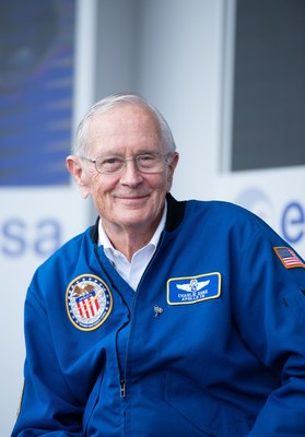 June 18, 2019 - NASA Apollo astronaut Charlie Duke on the European Space Agency stand at the 53rd International Le Bourget Air & Space Show in Paris, France.​