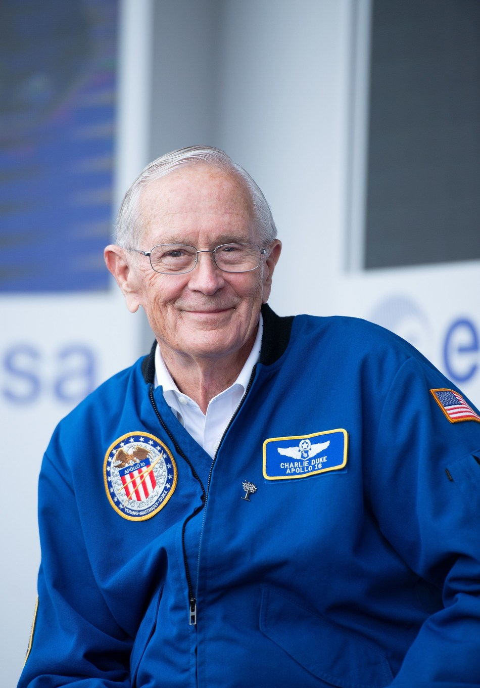 June 18, 2019 - NASA Apollo astronaut Charlie Duke on the European Space Agency stand at the 53rd International Le Bourget Air & Space Show in Paris, France.