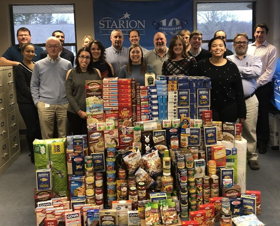 In November, Starion Energy completed a food drive for the Middlebury, Connecticut Community Food Bank.  Employees at the company's headquarters held their annual food drive and donated hundreds of items including stuffing, cranberries, potatoes, gravy, soups, pasta, rice, fruits, vegetables, and much more. Starion Energy is thankful to have been able to support several charities over the past year and will continue to seek ways to make a difference this holiday season.
