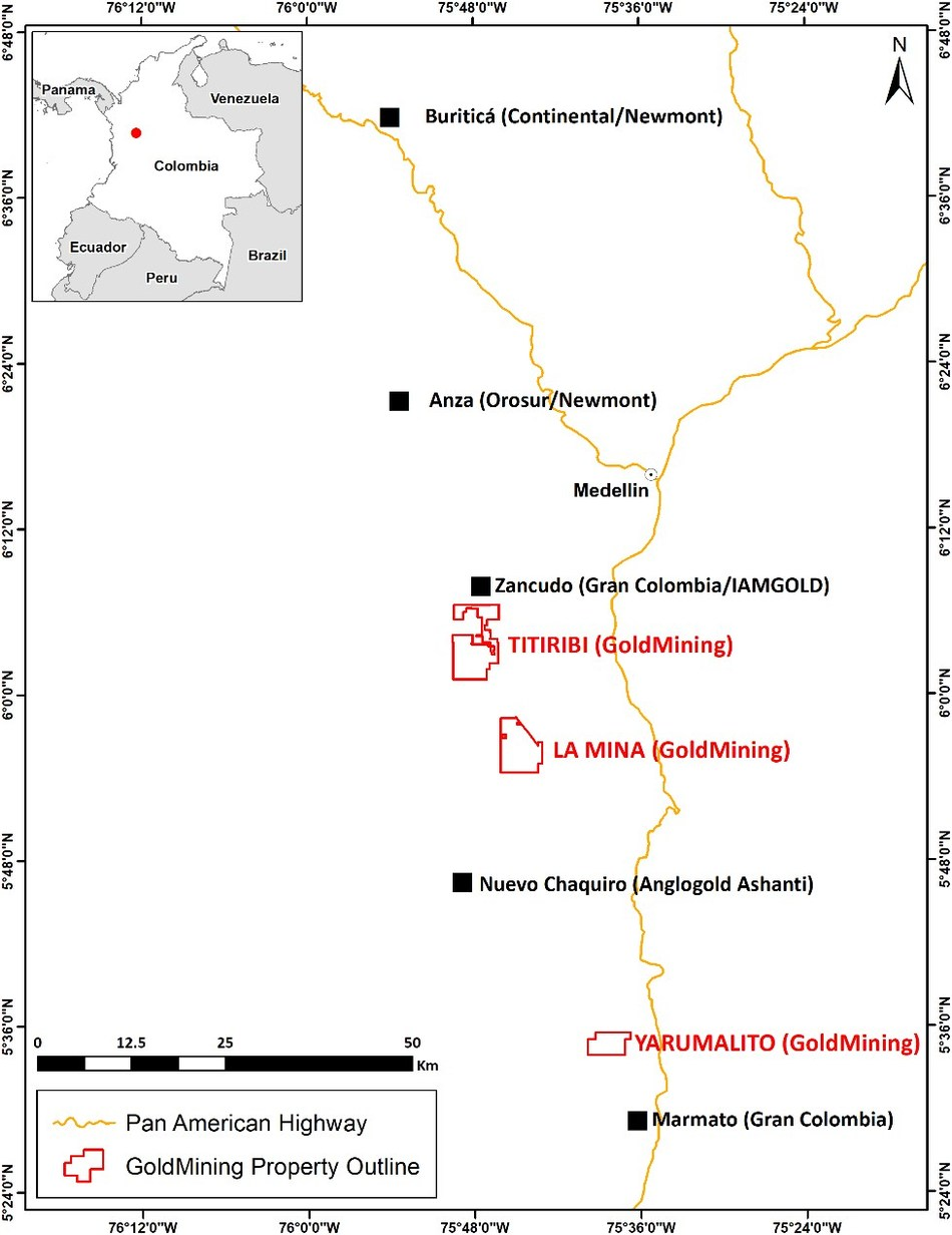 Figure 1: Yarumalito Project location and other active exploration projects and mines in the Mid Cauca Belt of central Colombia. (CNW Group/GoldMining Inc.)