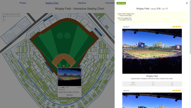 Interactive seating chart of Wrigley Field showing fan-submitted photos