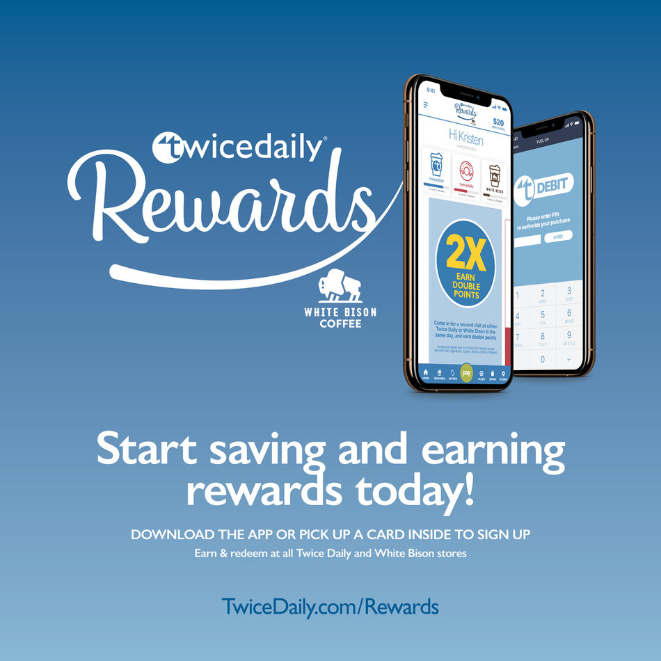 Twice Daily launches TwiceDaily Rewards and TD Debit, using ZipLine's loyalty and mobile payment platform. The program will be marketed across both the Twice Daily and White Bison Coffee brands.   ZipLine's Consumer Engagement team designed this front door cling for Twice Daily, in addition to other marketing pieces.