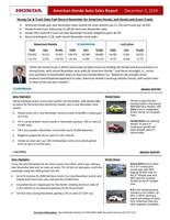 Strong Car & Truck Sales Fuel Record November for American Honda, and Honda and Acura Trucks