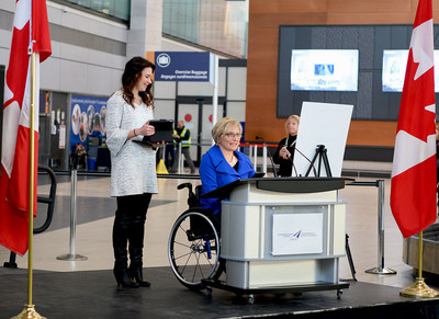 From the left: Samantha Proulx (Accessible Built Environment Specialist, ABE Factors Inc.) and Julie Sawchuk (Accessibility Strategist and Educator) (CNW Group/Ottawa International Airport Authority)