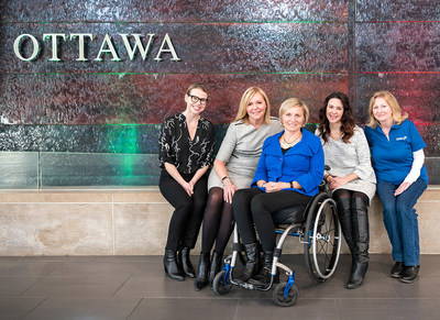 From the left: Sarah McCarthy (Rick Hansen Foundation), Krista Kealey (Ottawa International Airport Authority), Julie Sawchuk (Accessibility Strategist and Educator), Samantha Proulx (Accessible Built Environment Specialist, ABE Factors Inc.), and Mardelle Woods (Rick Hansen Foundation Ambassador) (CNW Group/Ottawa International Airport Authority)