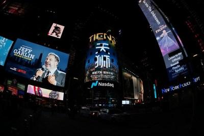 TIENS Group em destaque na tela da NASDAQ na Times Square de Nova York (PRNewsfoto/TIENS)