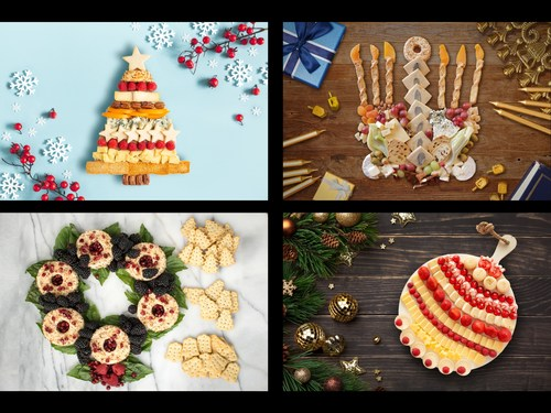 A collection of festive cheeseboards created by Canada's top pastry design artists. Clockwise from top left: O' Cheesemas Tree by Laura Girolami (Montreal, QC); Cheese Menorah by Vanessa Baudanza (Toronto, ON); A-Wreath-A Franklin by Lynette MacDonald (Calgary, AB); Cheese Ornament by Mimi Cheung (Vancouver, BC) (CNW Group/Castello)
