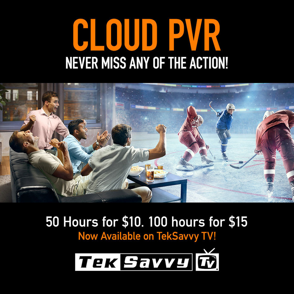 TekSavvy TV Cloud PVR works very much like a traditional Personal Video Recorder (PVR), only now TekSavvy TV Cloud PVR subscribers can store their recorded content securely and privately in the TekSavvy TV Cloud. (CNW Group/TekSavvy Solutions Inc.)