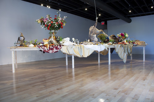 CREDIT: Emily Jan. After the Hunt, 2017. Hand-felted textiles and mixed media installation in the Inc.'s Cannon gallery. Photo: Kristina Durka.  CAPTION: Hamilton Artists Inc. wins Lacey Prize, first award recognizing artist-run centres in Canada. (CNW Group/National Gallery of Canada)
