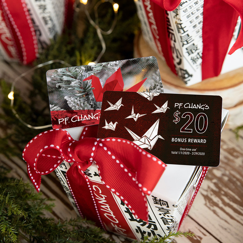 P.F. Chang's is giving the gift of good fortune with its new holiday gift card design, and a $20 bonus card for every $100 spent now through December 31. Gift cards are available in restaurants and online, and may be used for dine-in, carry-out, and catering occasions.