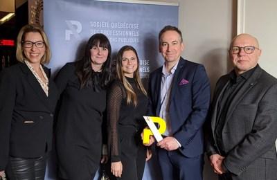 Le prix a été reçu par des représentants de la Société de transport de Laval (STL) et de Forsman & Bodenfors (FB); de gauche à droite : Estelle Lacroix (STL), Mélanie Beaudoin et Jenny Privé (FB), Nicolas Girard et Daniel Boismenu (STL). (Groupe CNW/Société de transport de Laval)