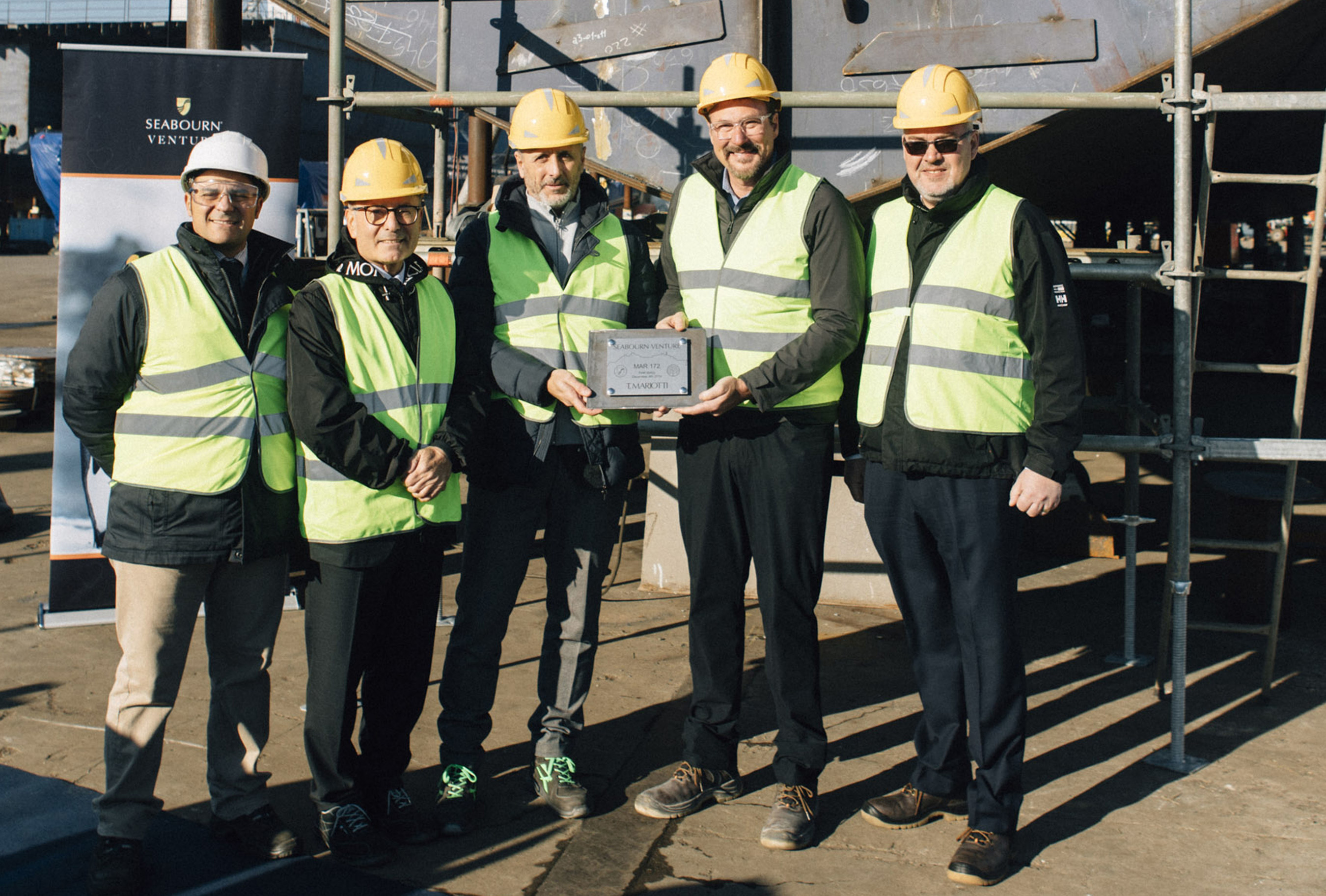 From left to right: Ruggiero Rizzo, T.Mariotti Project Manager - Seabourn Venture; Carmelo Bottecchia, Cimolai Manager; Marco Ghiglione, T.Mariotti Managing Director; Richard Meadows, Seabourn President; Jan Velthuis, Holland America Group - Newbuild Project Manager