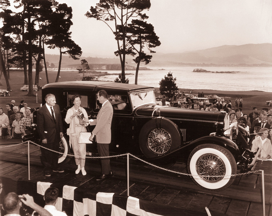 J.B. Nethercutt's meticulous restoration of this 1930 duPont led to the first of his record six Best of Show wins at the Pebble Beach Concours d'Elegance and helped to establish the standard of excellence for which Pebble Beach is now known. (Photo copyright 1958 by Julian P. Graham / used courtesy of Pebble Beach Company Lagorio Archives)