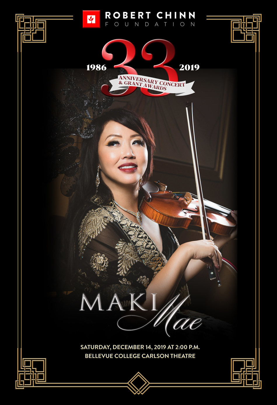 Virtuoso violinist and 13-language soprano Maki Mae headlines Robert Chinn Foundation's 33rd Anniversary Concert with Ed Roth, keyboardist to 9-Grammy Award winners.