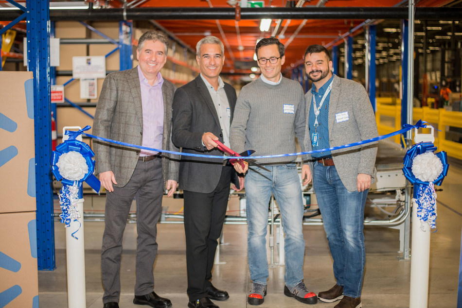 From L to R: Guy Toksoy, vice president, operations, SCI; Chris Galindo, CEO, SCI; Alexis Lanternier, executive vice president e-commerce, Walmart Canada; Daryl Porter, vice president, e-commerce operations and logistics, Walmart Canada. (CNW Group/SCI Group Inc.)