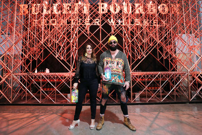 Artists Elidea and Jason Skeldon in front of Bulleit 3D Printed Bar at Miami Art Week.