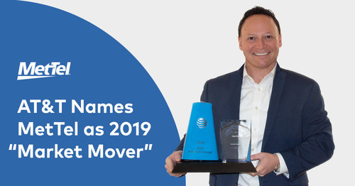 MetTel VP of Mobility & IoT Max Silber holds the AT&T Market Mover Award, the top award AT&T issues to its leading partner for revenue generation in both the wireline and wireless connectivity.