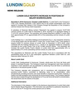 Lundin Gold Reports Increase in Positions by Major Shareholders (CNW Group/Lundin Gold Inc.)