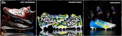 NFL's My Cause My Cleats charitable campaign features cleats raising awareness for Muscular Dystrophy Association by Jeff Heuerman/Denver Broncos; Nyheim Hines/Indianapolis Colts; Dan Bailey/Minnesota Vikings.