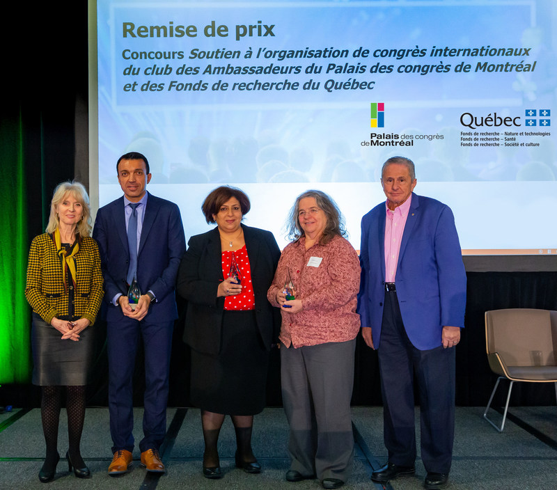From left to right: Louise Poissant, Thierry Karsenti, Naglaa Shoukry, Louise Potvin, Prof. Hany Moustapha (CNW Group/Palais des congrès de Montréal)