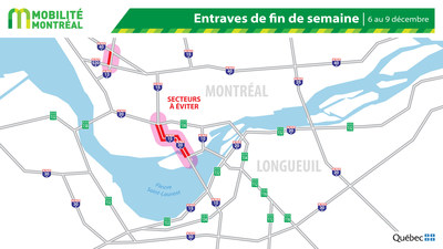 Carte générale des entraves, fin de semaine du 6 décembre (Groupe CNW/Ministère des Transports)