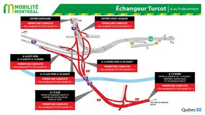 Fermetures échangeur Turcot, fin de semaine du 6 décembre (Groupe CNW/Ministère des Transports)